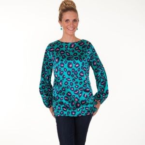 Tracy Negoshian Nina Leopard print Turquoise top